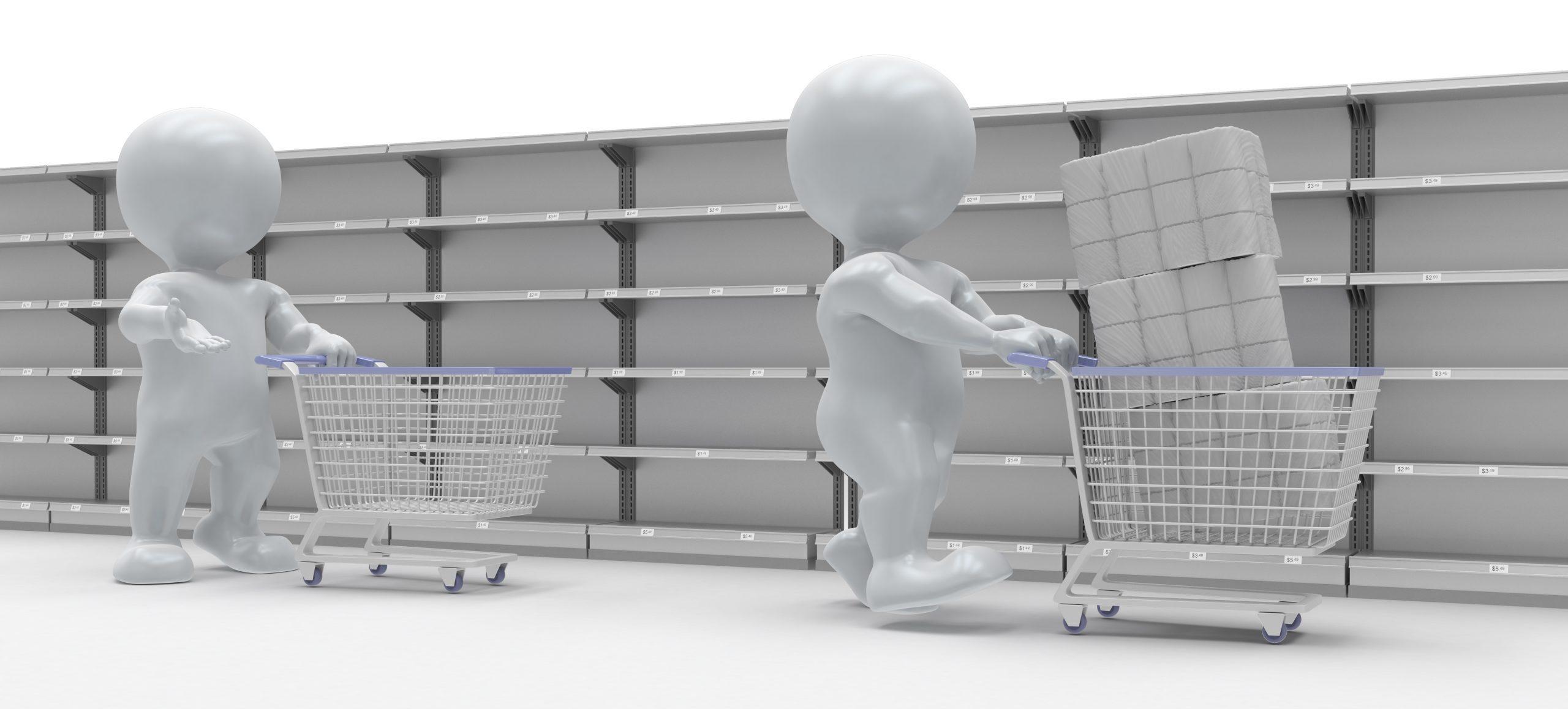 Toilettenpapier im Supermarkt ausverkauft