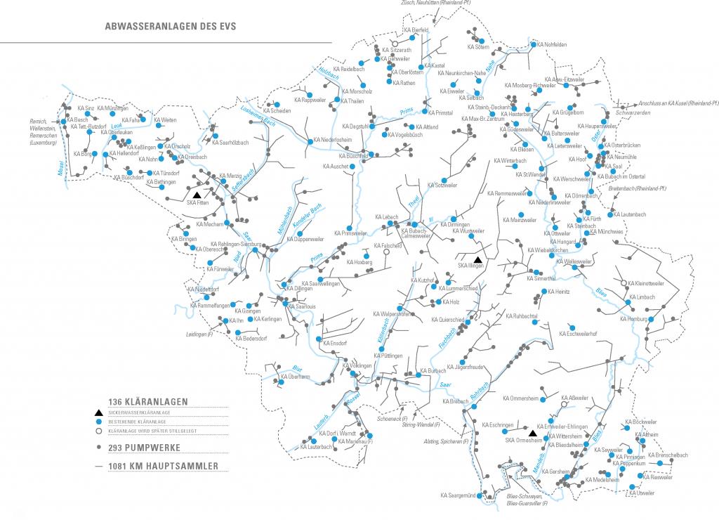 Übersicht über EVS Abwasserinfrastruktur